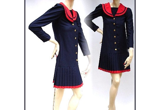 Vintage 1960s Dress Navy Blue Red Nautical Sailor Dress Couture Mad Man Femme-Fatale Rockabilly Garden Party Pinup Bombshell Retro Office - ByMidnightSparkle