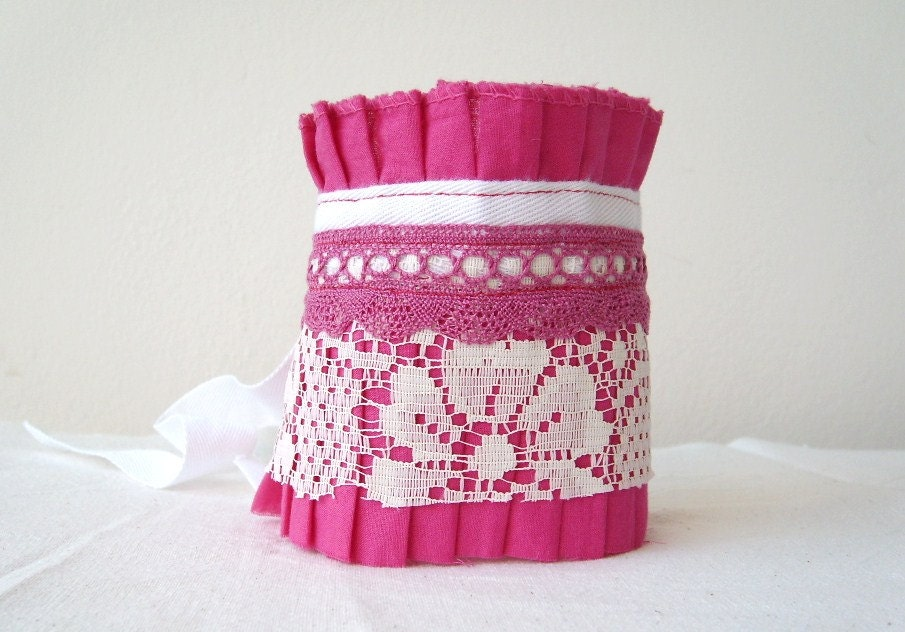Fuchsia  Antique White Lace  Berry Crochet Lace Ruffle Cuff by OnePerfectDay - OnePerfectDay