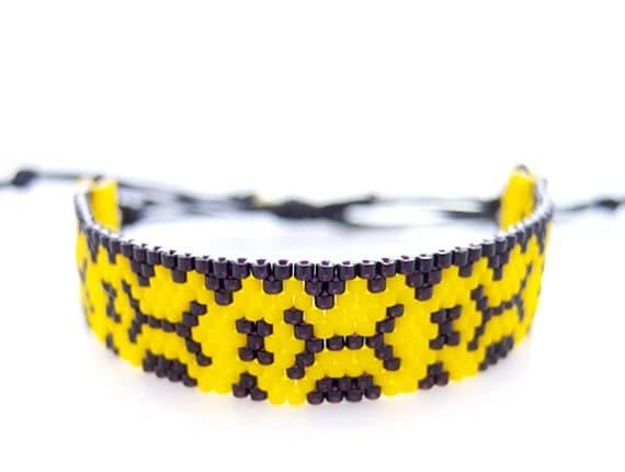 Yellow Aztec Bracelet, Beaded Cord Bracelet, Snakeskin Effect Bracelet, Yellow & Black Bracelet, OOAK Handmade by JeannieRichard