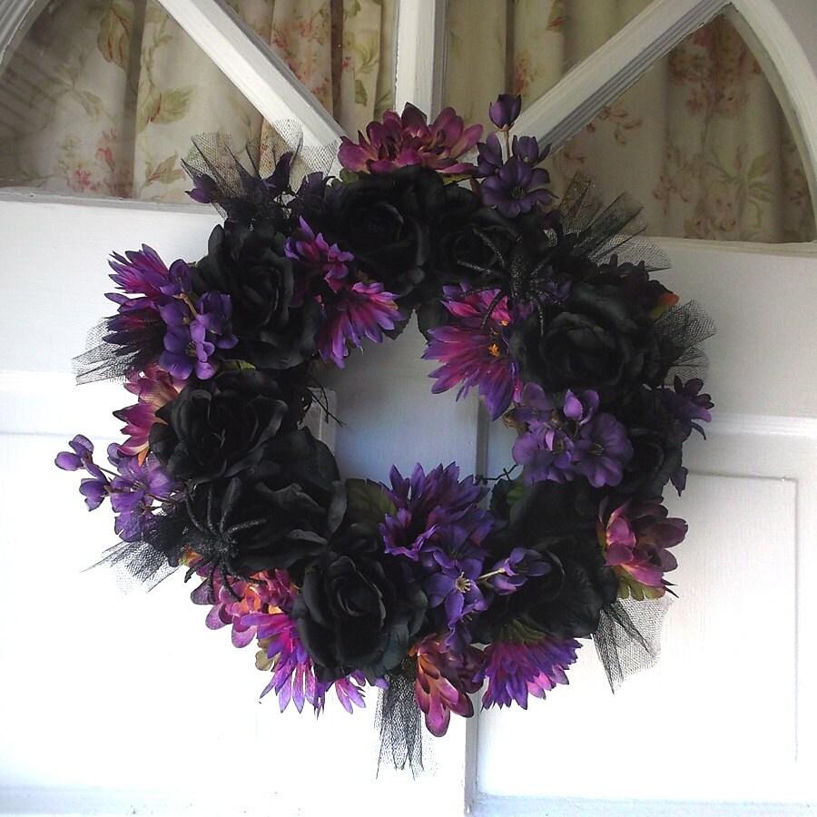Black Flower And Crow Halloween Wreath: Purple And Black Wreath Halloween Wreath Pagan By