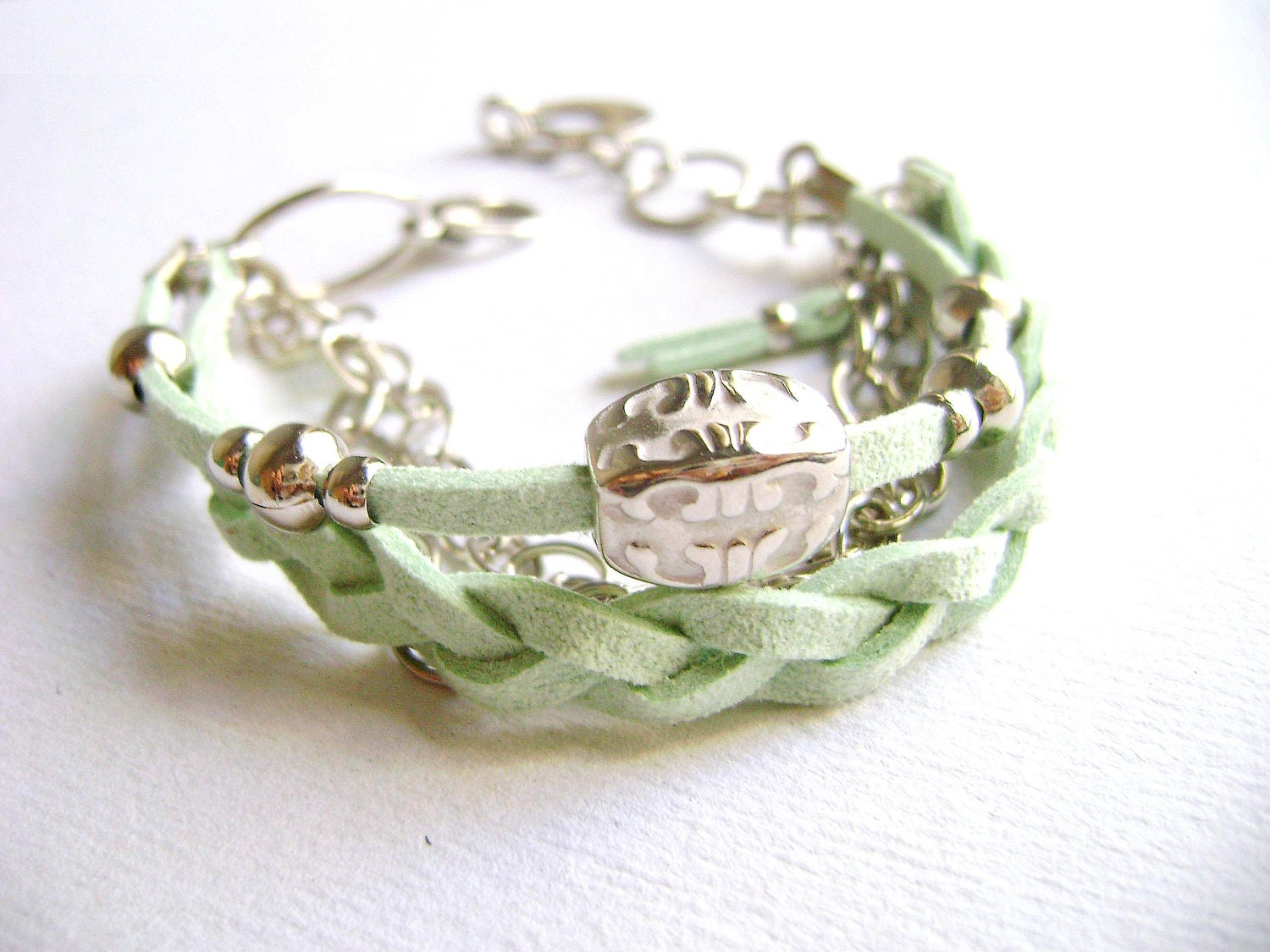 Refresh - soft mint eco suede leather silver chains stacking boho chic bracelet - DivinaLocura