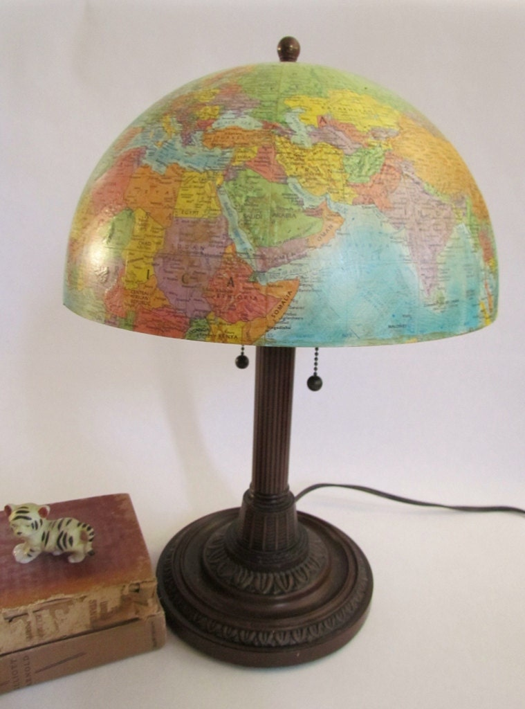 Upcycled globe lamp 12 inch globemaster shade by for 12 inch table lamp
