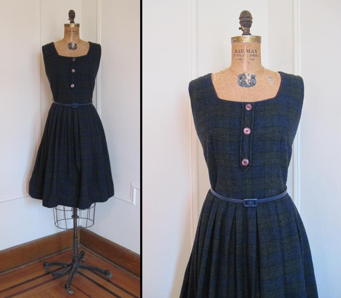 1950s Dark Blue and Gray Plaid Jumper Dress xl