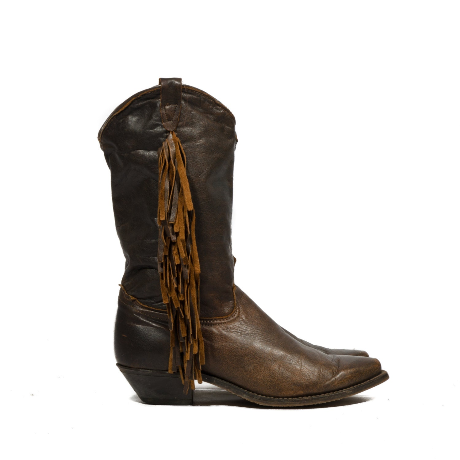 fringe cowboy boots brown leather by wildrabbitvintage
