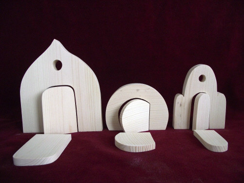 set of 3 fairy doors unfinished pine by clickityclack on etsy