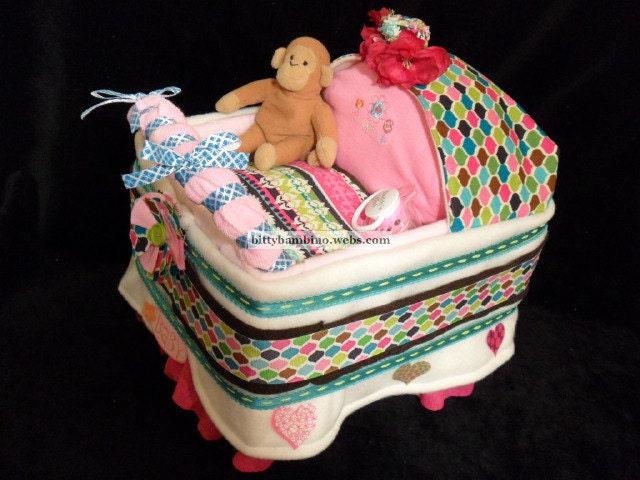 Bassinet Diaper Cake - Diaper Bassinet Stroller - Deluxe Model with Handmade Baby Gift Set