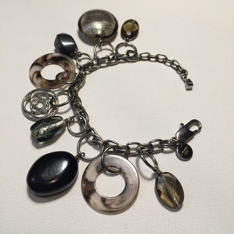 Dyrberg  Kern Estate Vintage Charm Style Glass Double Link Chain Bracelet  Retro Bangle  Estate Jewelry