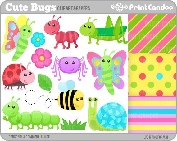 Cute Bugs - Digital Clip Art - Personal and Commercial Use - insects ...