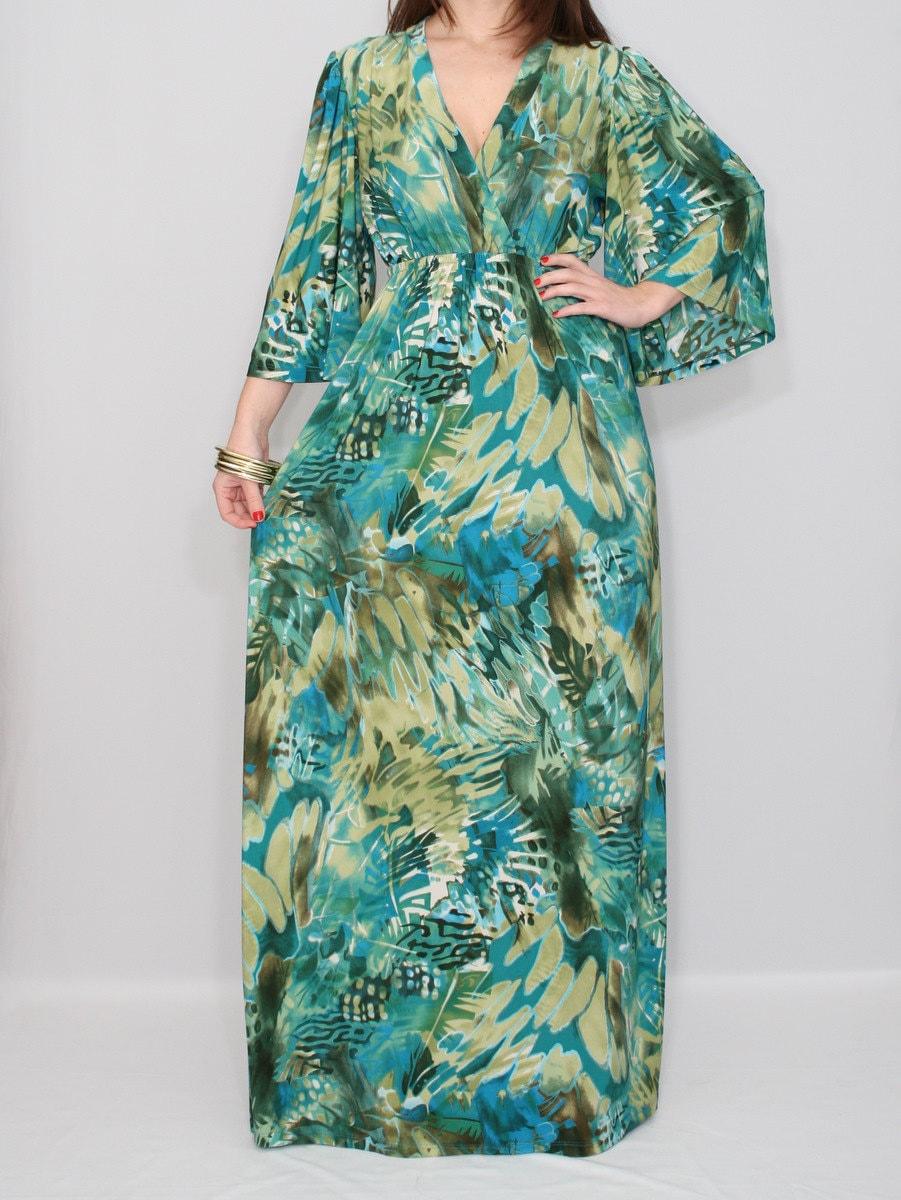 Maxi Dress Kimono sleeve Dress Green Blue dress for Women - KSclothing