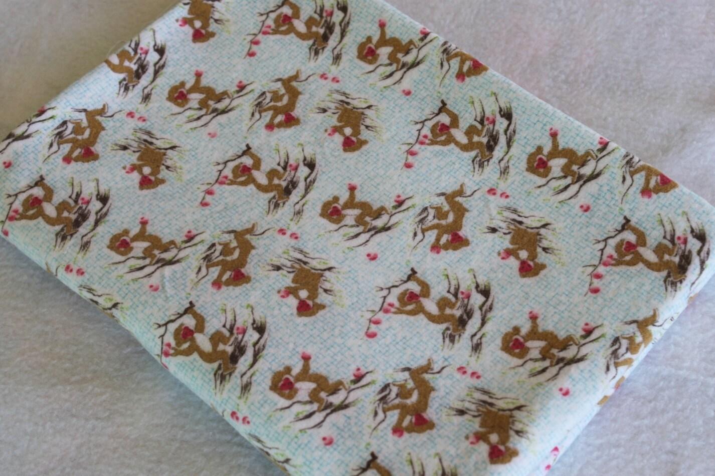 Monkey print flannel children 39 s vintage fabric by for Vintage childrens fabric prints