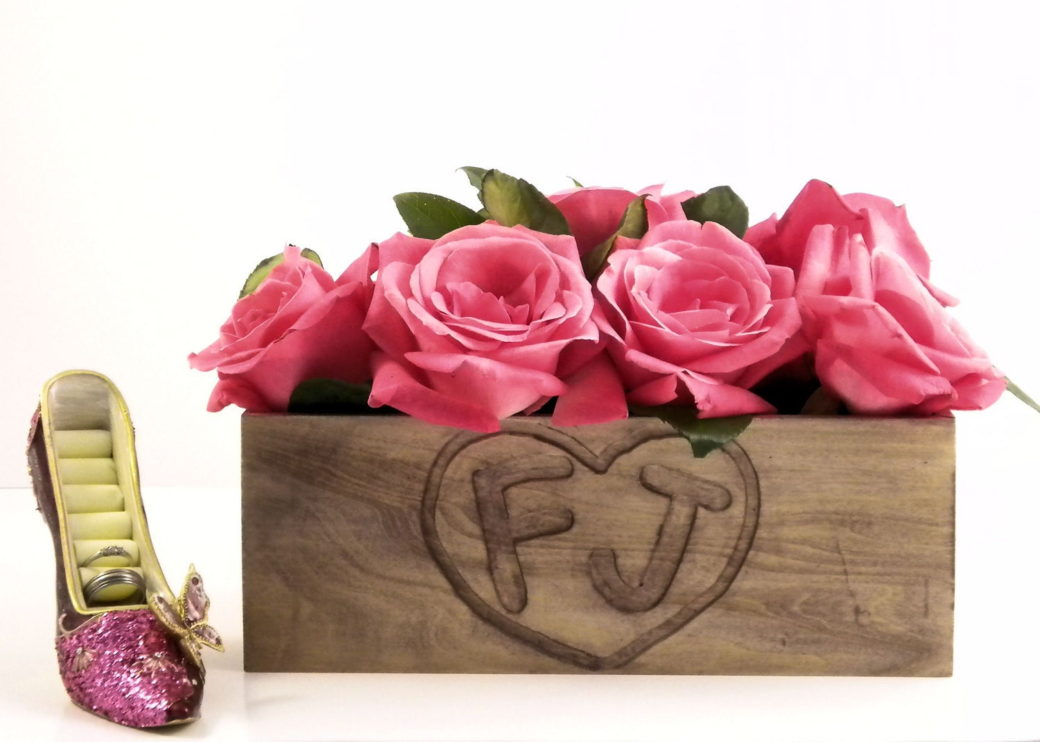 Wood flower box for Country/rustic wedding table Centerpieces, Wooden Heart Box with Engraving - WoodenEnhancements