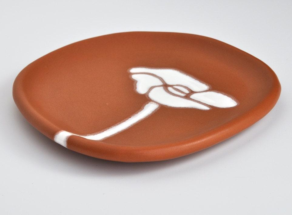 ceramic plate - poppy flower in burnt orange - pottery - hopejohnson