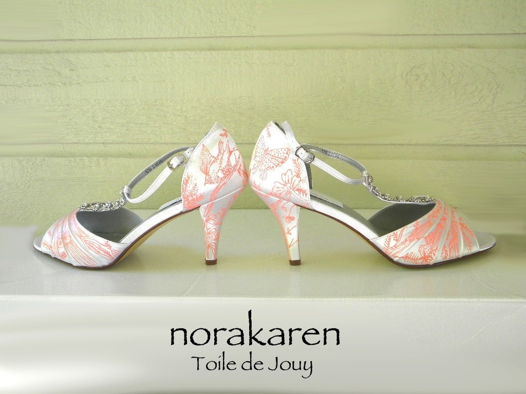 Wedding Shoes Toile De Jouy Jeweled T Strap Coral By Norakaren