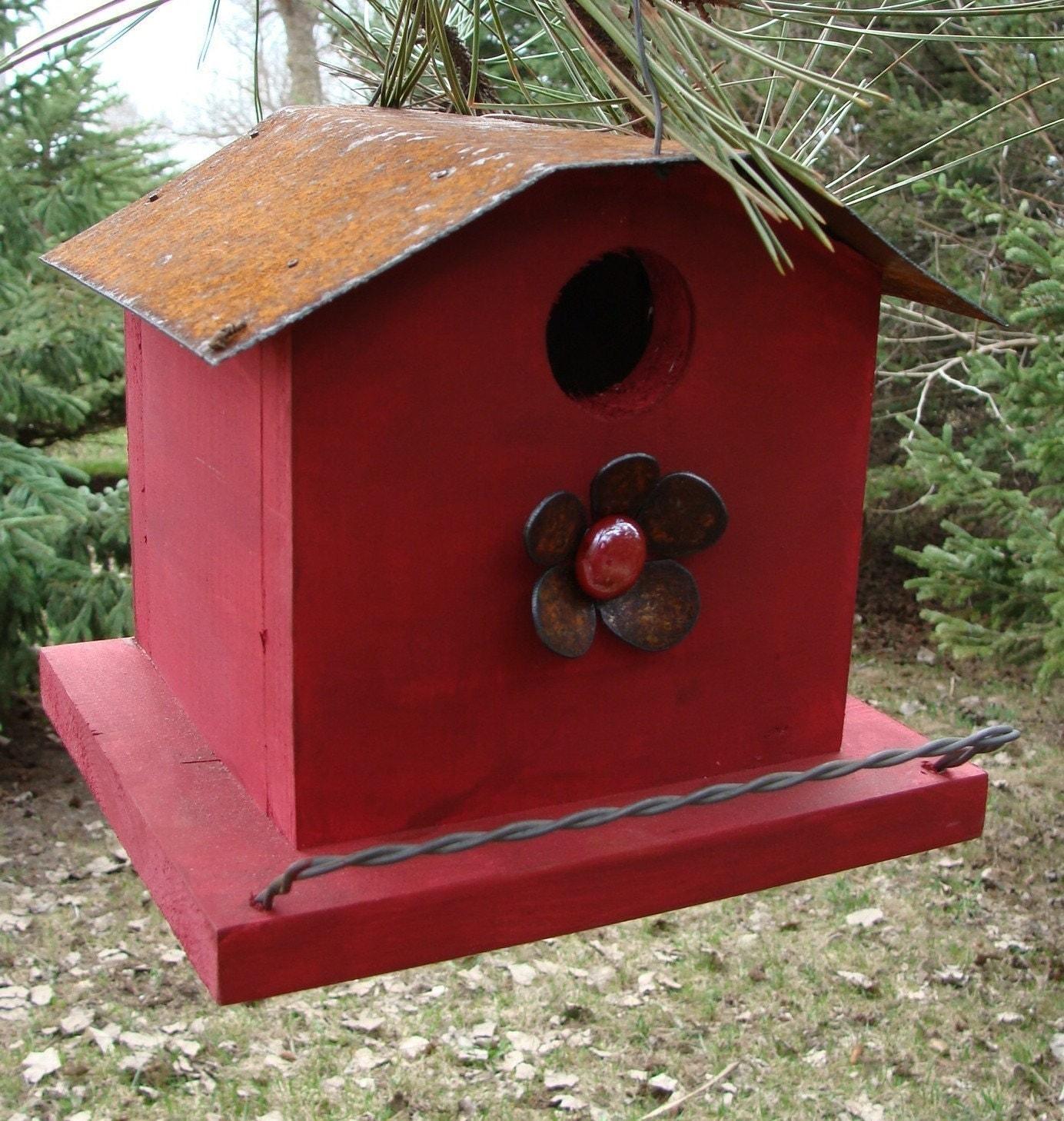 Primitive Rustic Birdhouse Decorative Bird By Baconsquarefarm