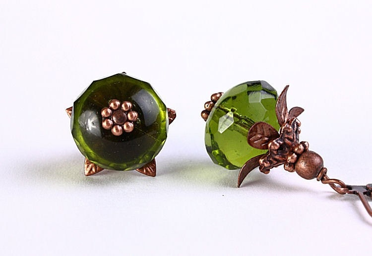 Olivine green Czech glass rondelle dangle earrings READY to ship (240) - Flat rate shipping - Khalliahdesign
