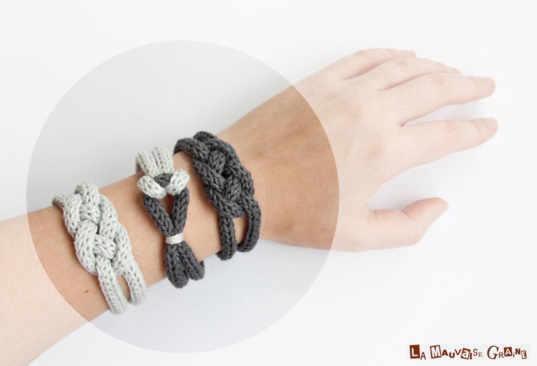 """Bracelet de tricotin tressé en coton - série """"rainy day"""""""
