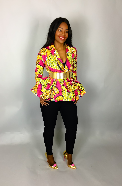 NEW IN African print cold shoulder topblazerAfrican clothingAfrican fabricAnkara dressesAfrican dress