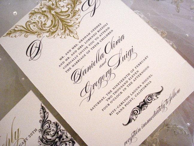 Wedding Program Alencon Lace Collection- Wedding Program Invitation Menu or Thank You Cards
