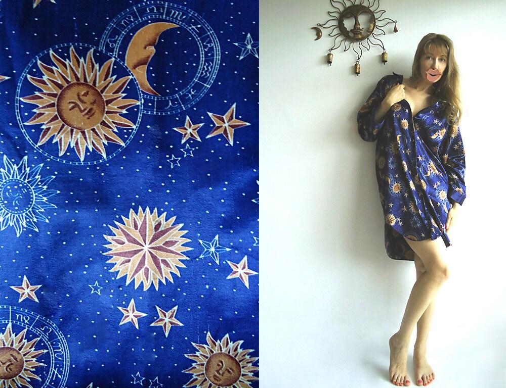 STAR GAZING Vintage Shiny Silky Robe with Stars, Suns and Zodiac Symbols S or M