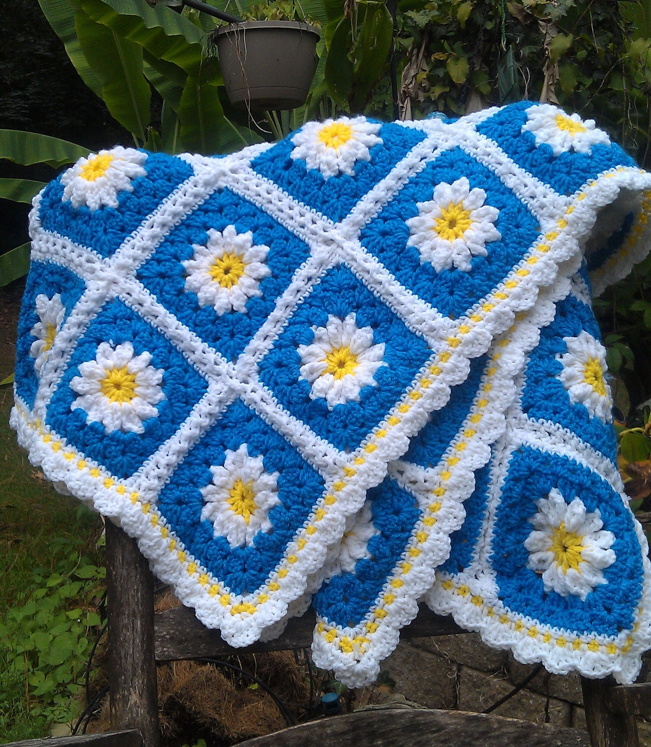 Summer Daisy Crochet Afghan Yellow Blue And By