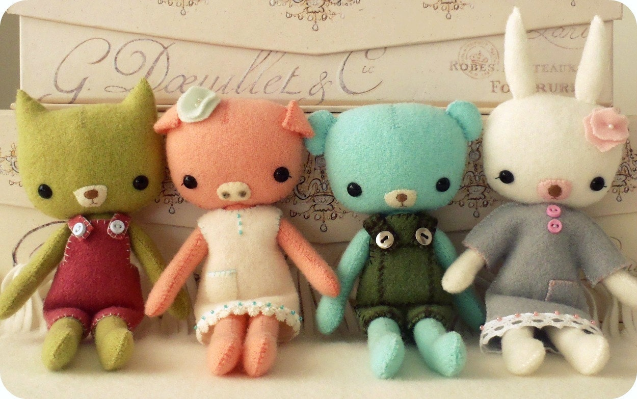 Plush Animal, Bunny, Artist Bear, Handmade Doll, Doll, Pocket Bunny - Beatrice