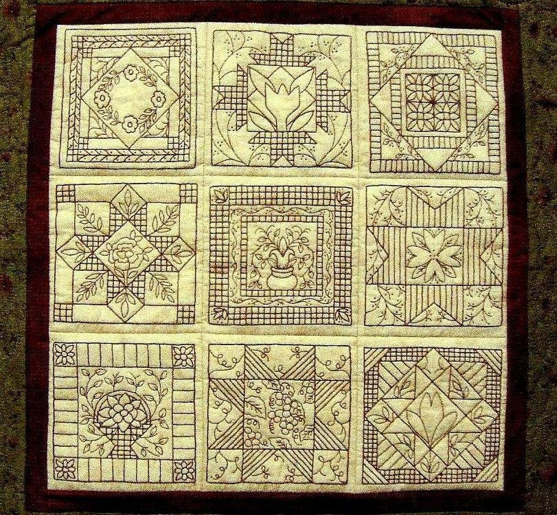 Embroidery Patterns For Quilt Squares : Garden Tiles Quilt Pattern Redwork Hand by WellingtonHouseDesig