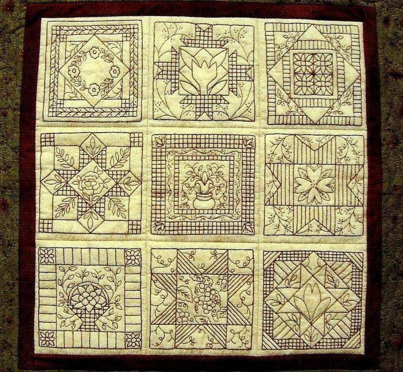 Garden Tiles Quilt Pattern Redwork Hand by WellingtonHouseDesig
