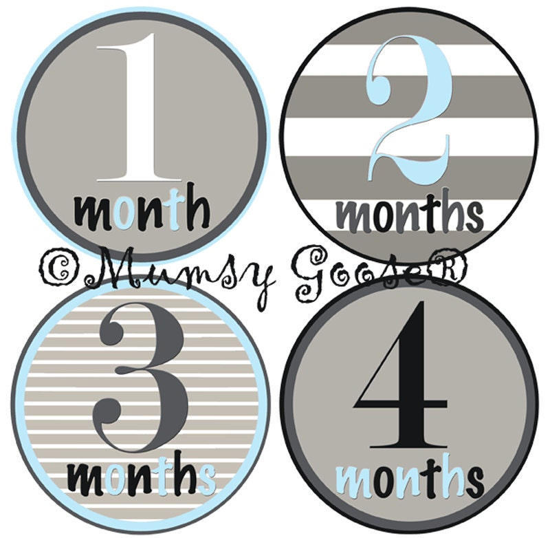 Baby Boy Onesie Stickers Baby Months Stickers Boy Onsies Hip and Cool Month Baby stickers Waterproof  Great Newborn Photo Prop