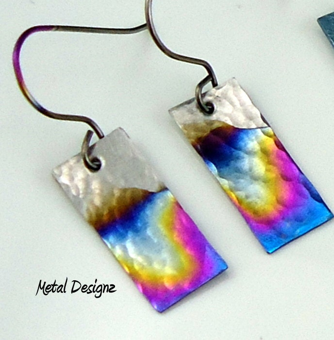Rectangle Niobium Earrings by MetalDesignz on Etsy