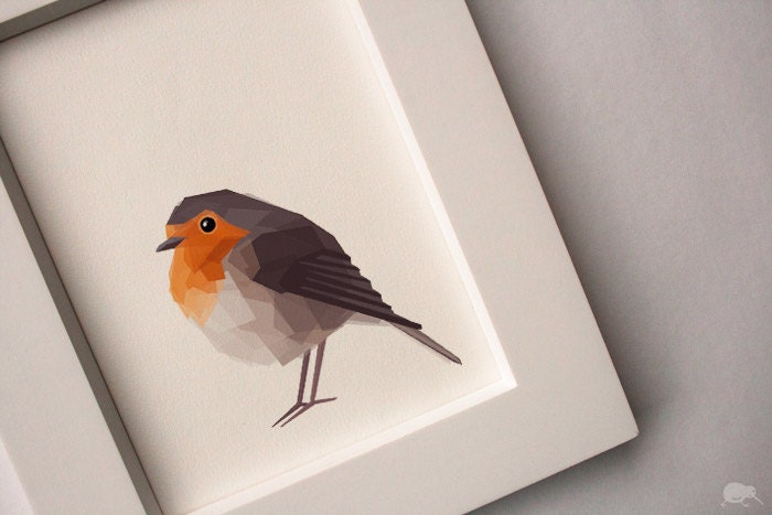 Robin, Geometric, Minimal, Bird print, Original illustration, Art, A4, A3, A6, A5 - TinyKiwiCreations