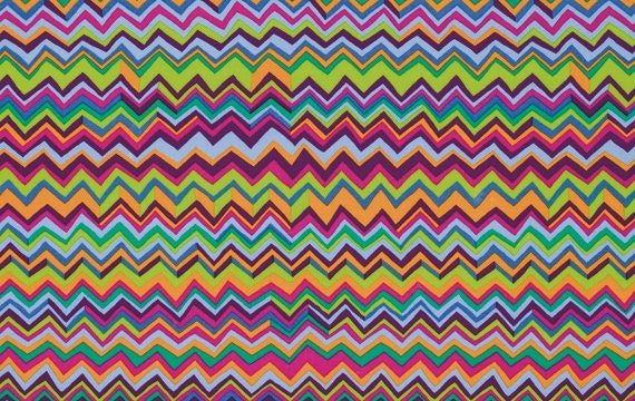 LAMINATED Cotton Fabric Zig Zag Multi Coated Vinyl By