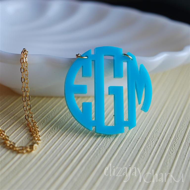 circle monogram acrylic necklace