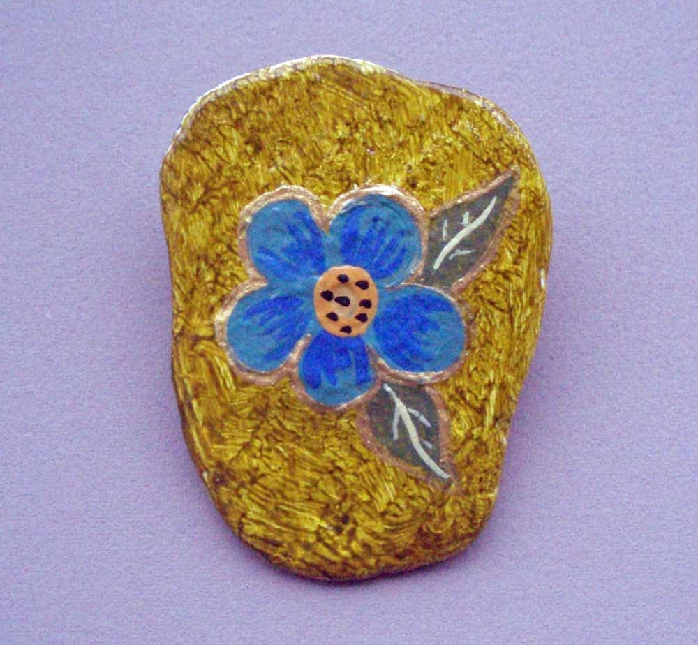 Handpainted Blue Posy Stone Pin