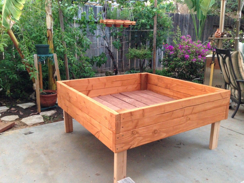 Raised garden planter box bed for herbs by for Raised box garden designs