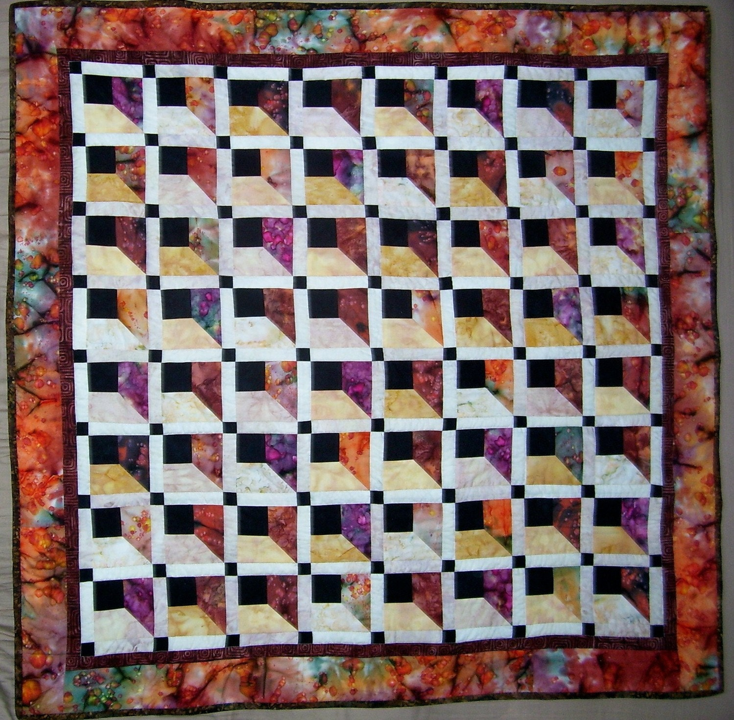 Attic Windows Batik Quilt By Crookedcabindesigns On Etsy