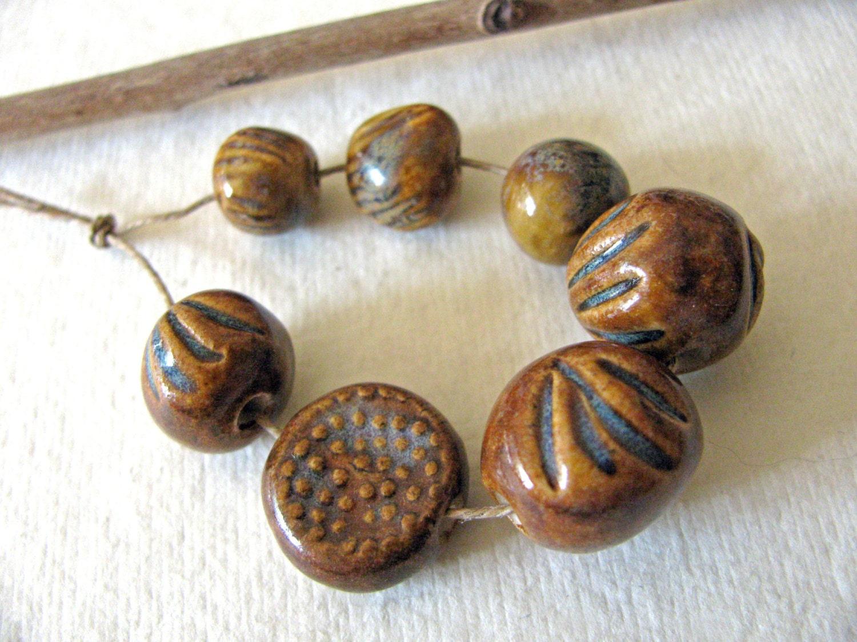 Woodland Autumn Beads Set of 7