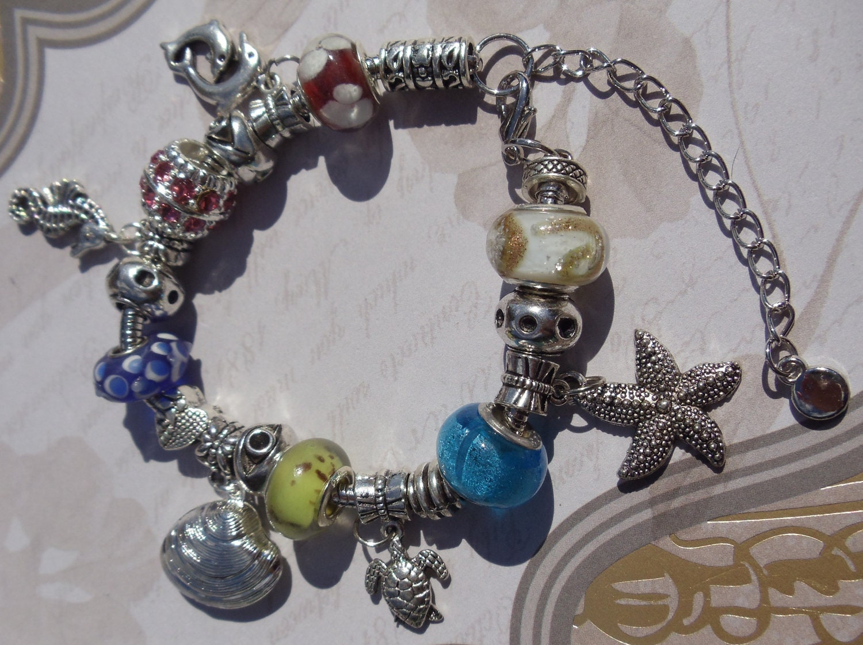 European style charm bracelet beach theme pandora look charm bracelet