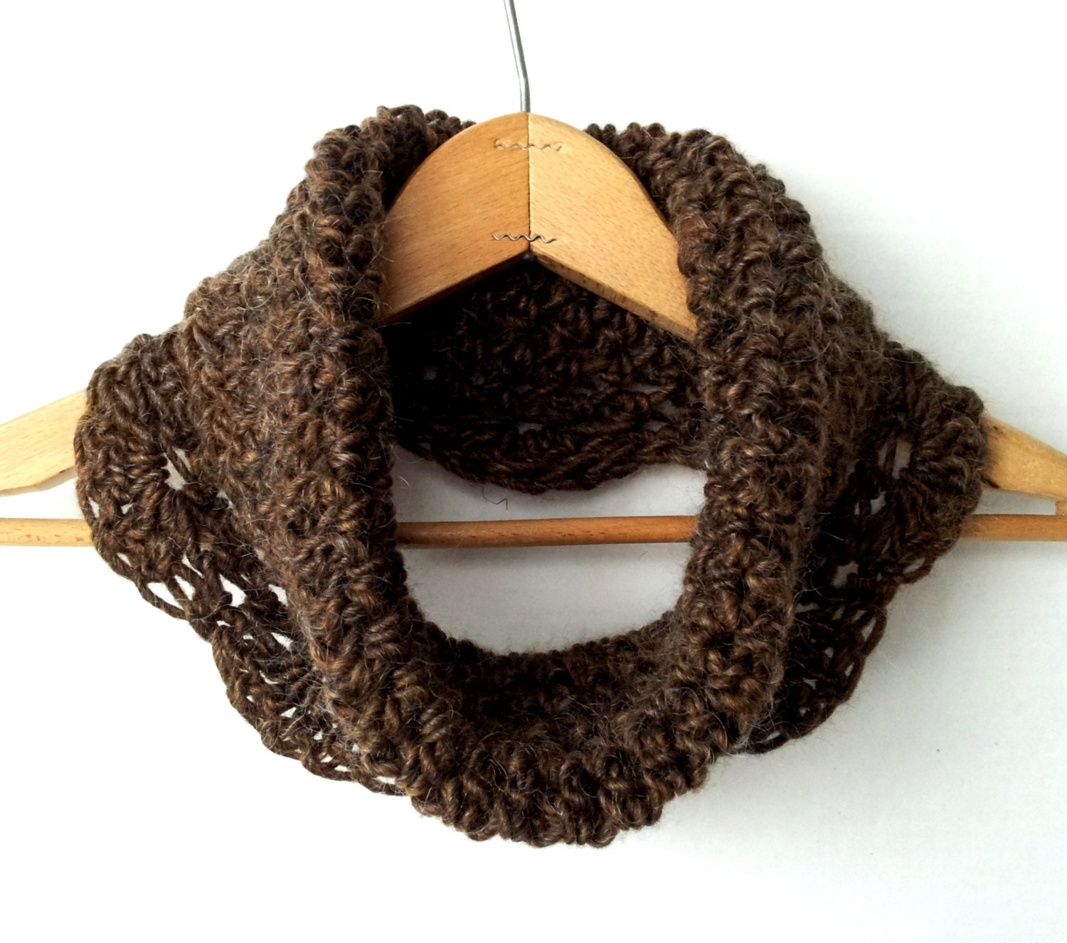 Chic & Sophisticated Sable Brown Crochet Cowl,  Trendy Tweed, 100% Wool, Neck Warmer, More Color Options - NorthernCottageGifts