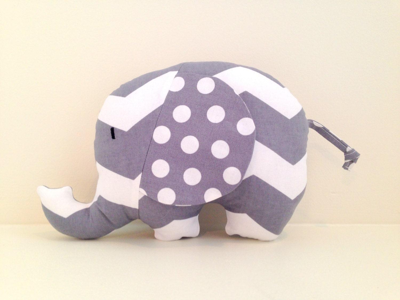 Elephant Stuffed Animal- Gray Chevron/ Gray Dots - AChildsHearth