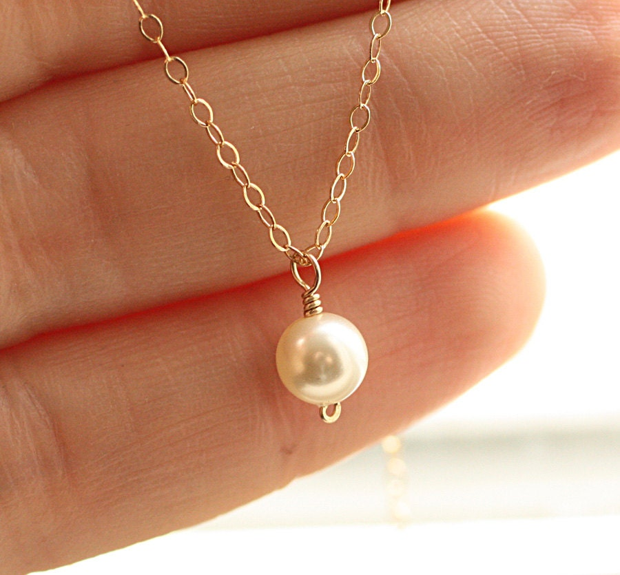 tiny pearl necklace dainty freshwater pearl by bijouxbymeg
