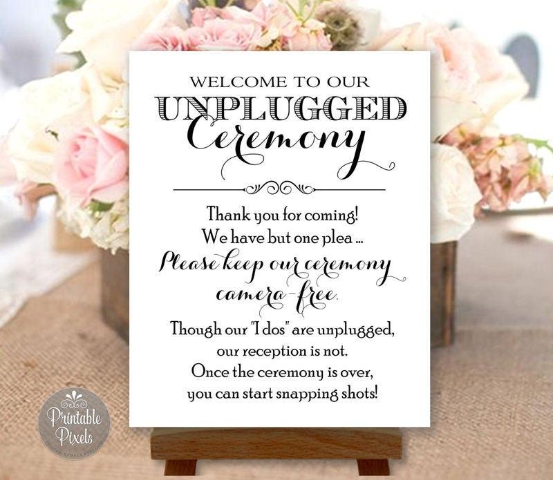 Printable unplugged wedding