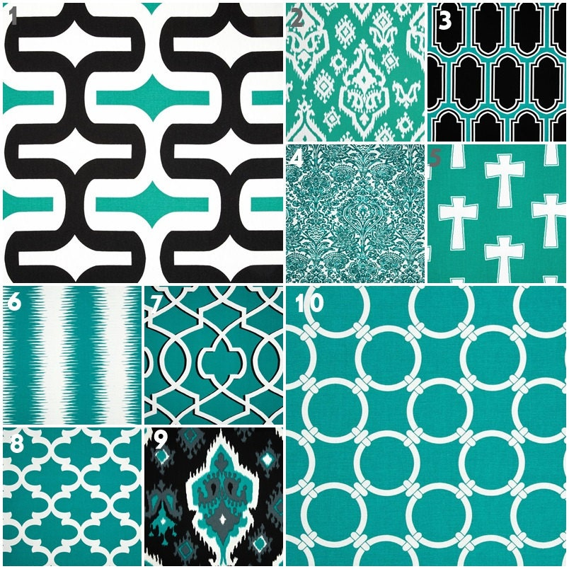Modern Teal Black and White Crib Bedding Baby by modifiedtot