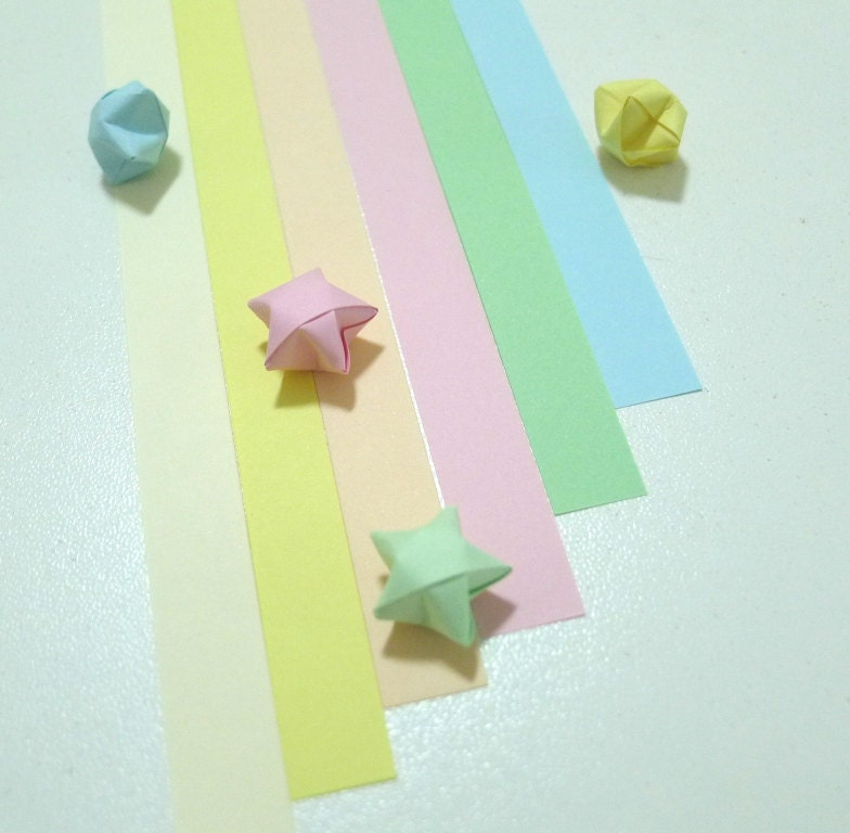 baby pastel rainbow shower 6 colors origami lucky star paper strips