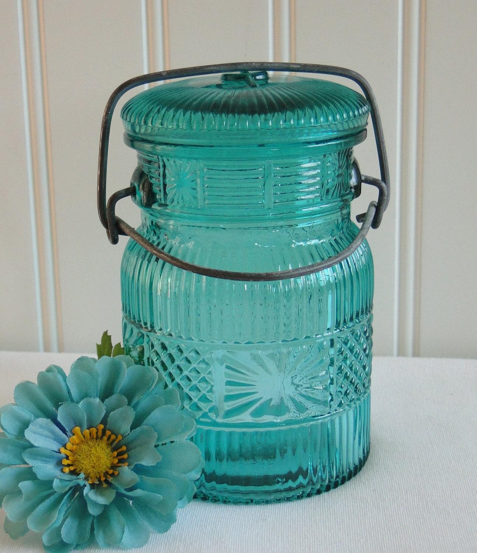 Avon Canning Jar Turquoise Teal Hatch lid vintage - LeadMeAway