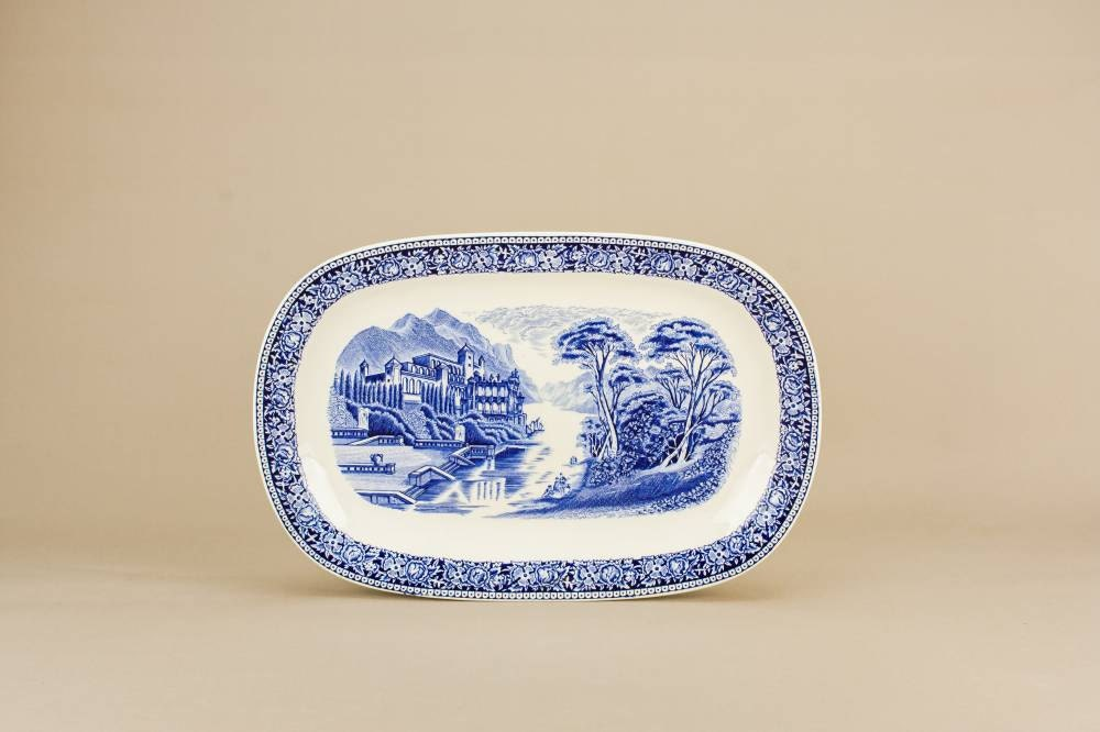 Blue And White Vintage Old England Myott Son Co Dish Serving PLATTER Dining Pottery Classical Oval English 1960s LS