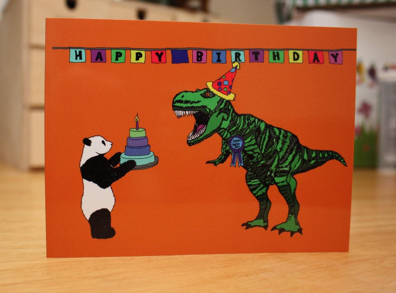 Jurassic Panda Birthday Card