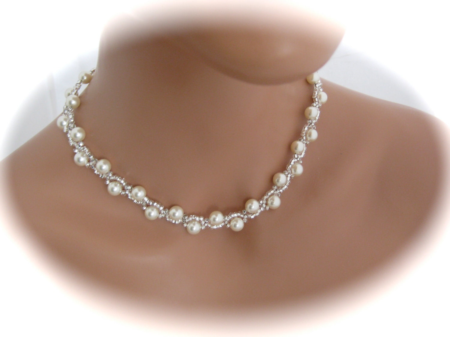 Wedding Jewelry  Swarovski Pearl Necklace  by Clairesparklesbridal from etsy.com