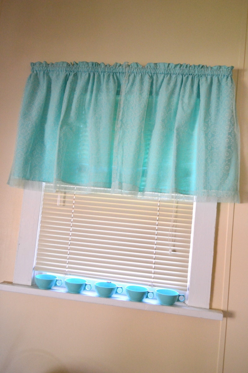 Panels Cute Vintage Aqua/Teal Valance Curtain with Flower Lace ...