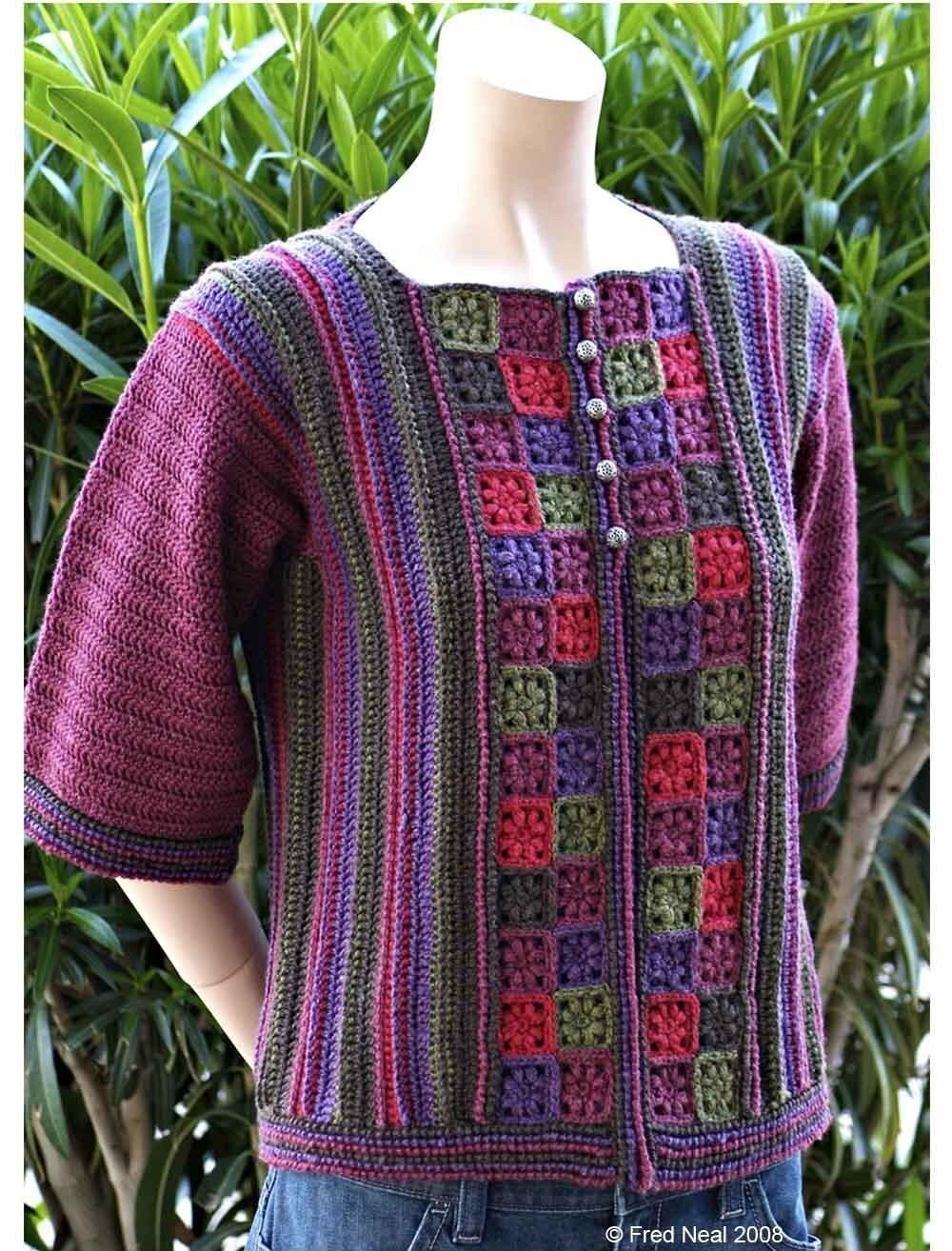 Flower Garden Cardigan Crochet Pattern pdf by DanDoh on Etsy