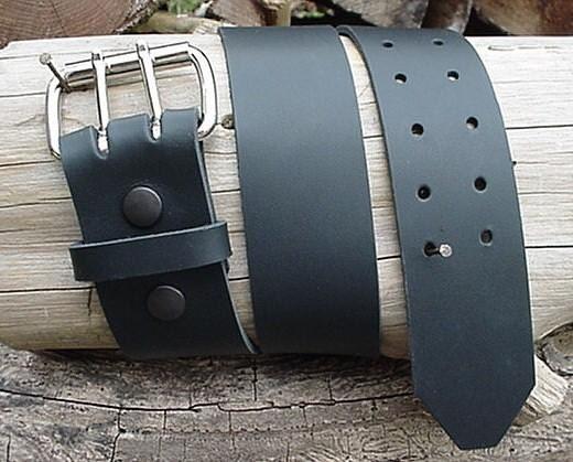 mens heavy duty black leather belt 2 inch wide by bobkitchener